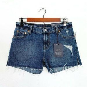 Gap Blue Distressed Raw Hem Cutoff Denim Shorts
